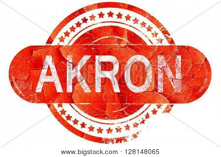 akron, vintage old stamp with rough lines and edges