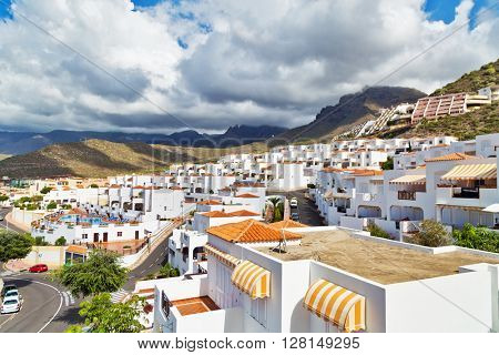 TENERIFE ISLAND, SPAIN - OCTOBER 28, 2015 : View on the apartment complex