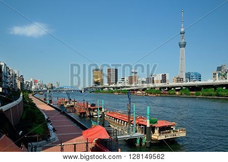 TOKYO, JAPAN - MAY 15: Skytree as the city landmark on May 15, 2013 in Tokyo. Tokyo is the capital of Japan and the most populous metropolitan area in the world