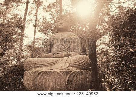 Buddha statue in shrine with historical building in Kyoto, Japan.