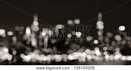 Midtown Manhattan skyline bokeh at dusk panorama over Hudson River
