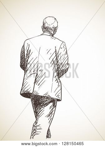 Sketch of walking man in suit Hand drawn illustration Back view