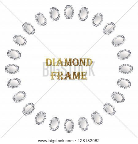 Diamond round frame. Vector jewerly background and place for your text. Abstract diamond border