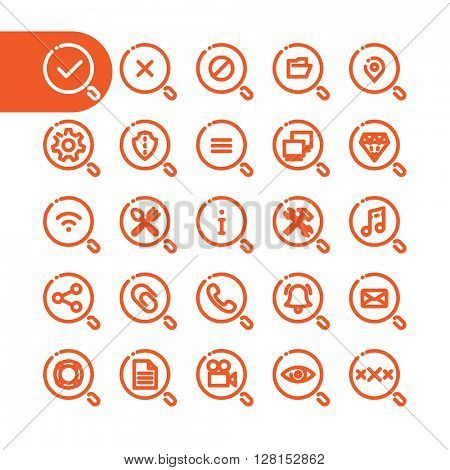 Zoom loupe, magnifying glass icons. Fat Line search Icon set for web and mobile. Modern minimalistic flat design elements of zoom loupe, magnifying glass lens and popular requests