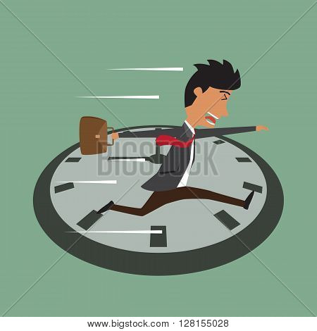 Cartoon businessman running on clock Jumps over time Rush hour vector illustration.