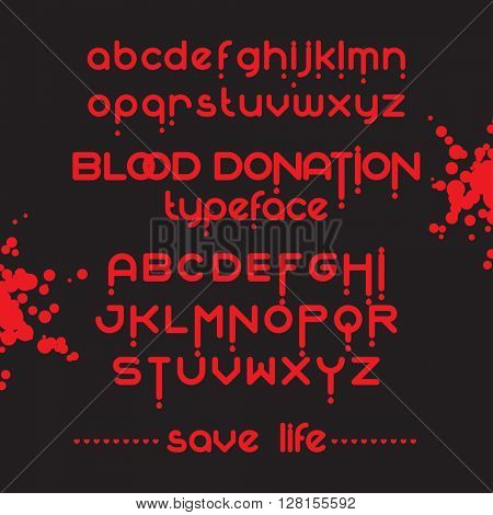 Round red color font set. Blood donation typeface. Save life. Vector alphabet