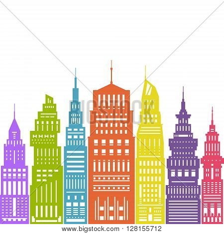 Colorful Modern Big City with Buildings and Skyscraper, Architecture Megapolis, City Financial Center , Flat Design, Architecture Concept, Real Estate , Vector Illustration