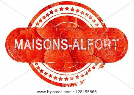 maisons-alfort, vintage old stamp with rough lines and edges