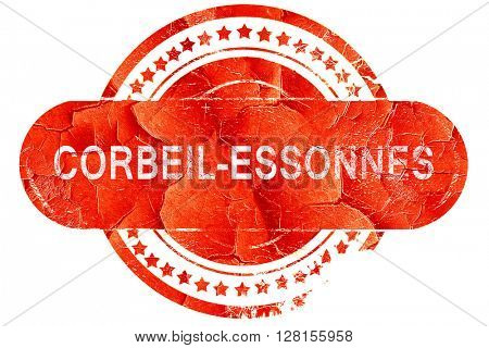 corbeil-essonnes, vintage old stamp with rough lines and edges