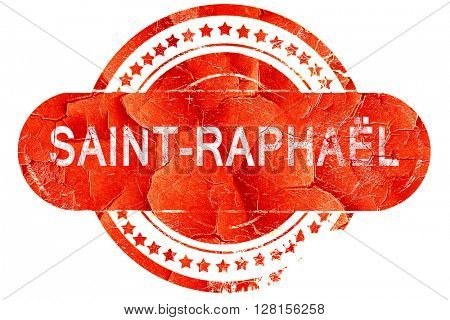 saint-raphael, vintage old stamp with rough lines and edges