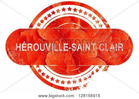 herouville-saint-clair, vintage old stamp with rough lines and e