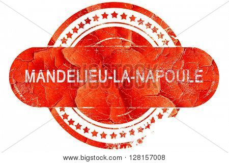 mandelieu-la-napoule, vintage old stamp with rough lines and edg