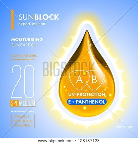 UV Protection. Sunblock SPF gold oil drop. UV protection solution suncare design. Vitamin E panthenol moisturizing expert formula.