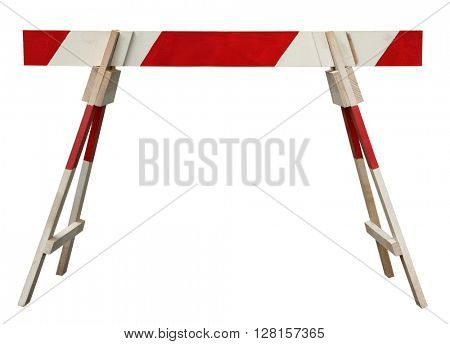 Traffic barrier wooden obstacle on road