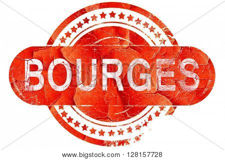 bourges, vintage old stamp with rough lines and edges
