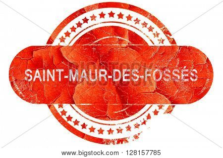 saint-maur-des-foss�©s, vintage old stamp with rough lines and e