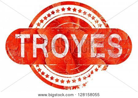troyes, vintage old stamp with rough lines and edges