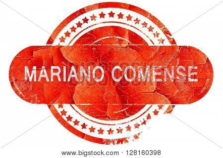 Mariano comense, vintage old stamp with rough lines and edges
