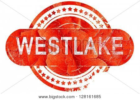 westlake, vintage old stamp with rough lines and edges