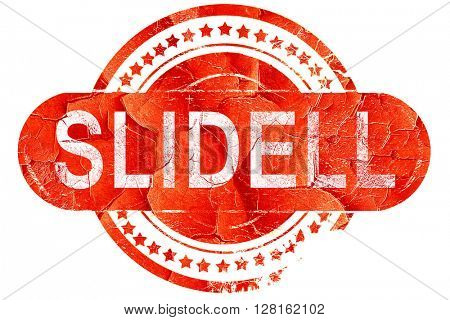 slidell, vintage old stamp with rough lines and edges