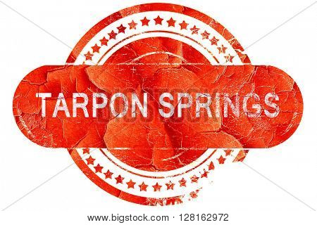 tarpon springs, vintage old stamp with rough lines and edges