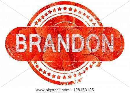 brandon, vintage old stamp with rough lines and edges