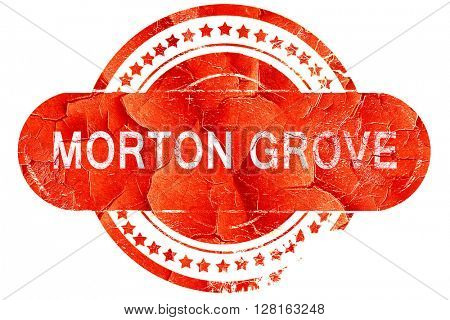 morton grove, vintage old stamp with rough lines and edges