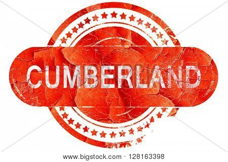 cumberland, vintage old stamp with rough lines and edges
