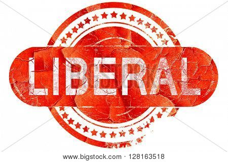 liberal, vintage old stamp with rough lines and edges