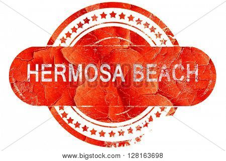 hermosa beach, vintage old stamp with rough lines and edges