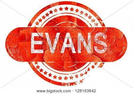 evans, vintage old stamp with rough lines and edges