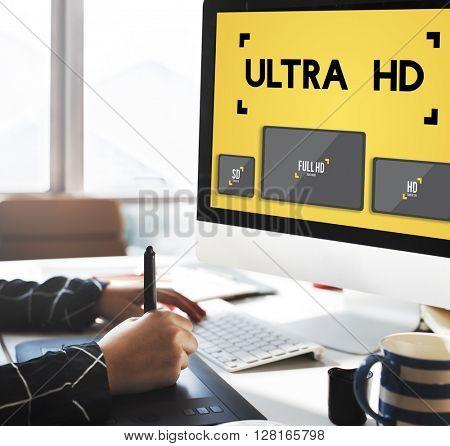 Ultra HD Definition Monitor Resolution Screen Concept