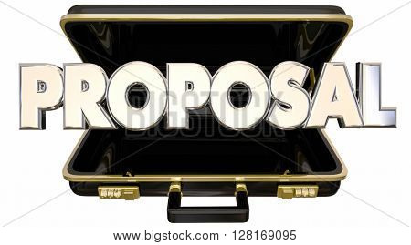 Proposal Presentation 3d Words Briefcase Sales Pitch