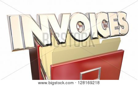 Invoices 3d Illustration Word File Cabinet Money Owed Payment Due