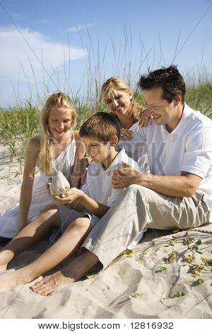 Caucasian family of four sitting on beach looking at seashell.