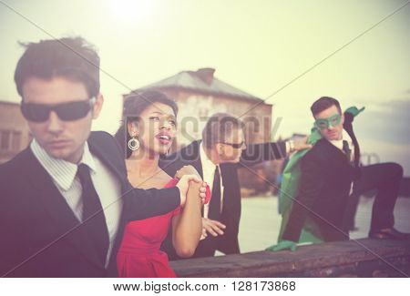 Action Scene of Business People Concept