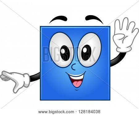 Mascot Illustration of a Square Showing Four Fingers