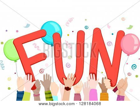 Illustration of Kids Waving Cutouts of the Word Fun