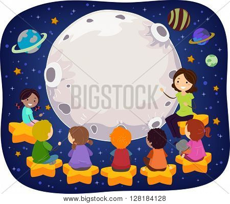 Stickman Illustration of a Teacher Teaching Kids in Space