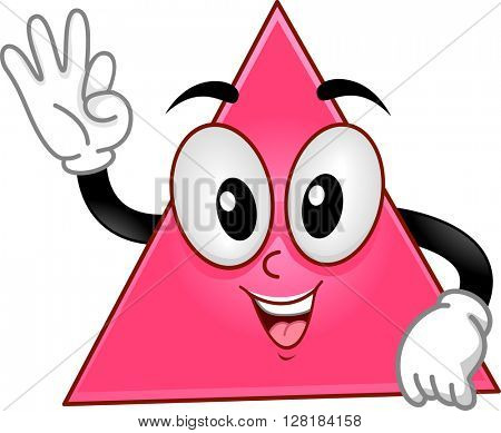 Mascot Illustration of a Triangle Showing Three Fingers