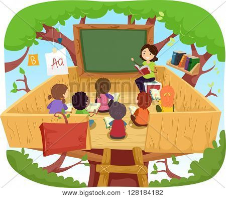 Stickman Illustration of Kids Having Their Class on a Tree House