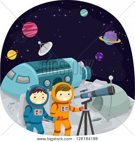 Stickman Illustration of Kids Using a Telescope to Observe Planets