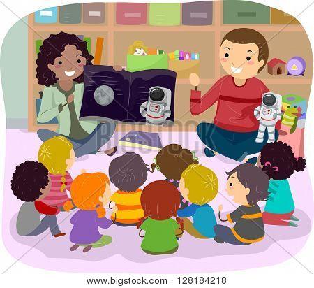 Stickman Illustration of Teachers Teaching Astronomy to Kids