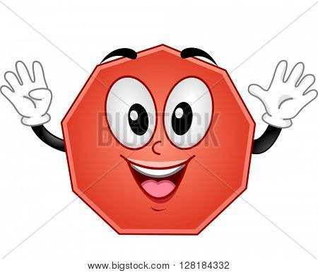 Mascot Illustration of a Nonagon Showing Nine Fingers