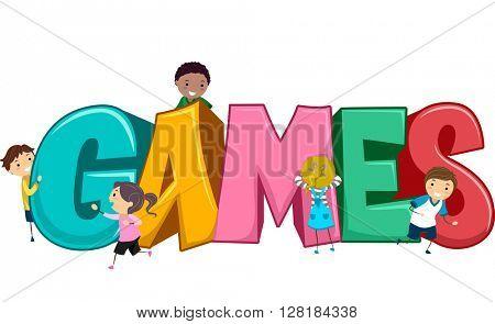 Stickman Illustration of Kids Playing Games