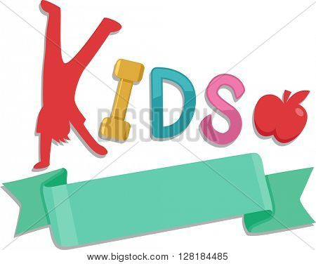 Illustration of a Ribbon with the Word Kids on Top