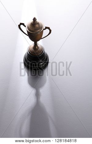 old trophy on the gray background