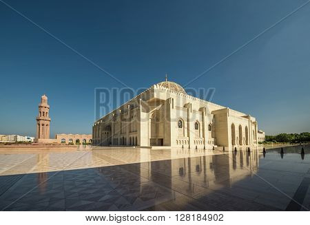 An exterior of Sultan Qaboos Mosque, Muscat, Oman.