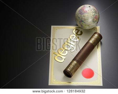 round certificate holder, certificate and globe  with text degree on the black background