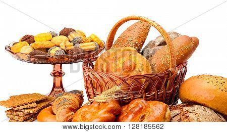 Collection of bread products isolated on white background
